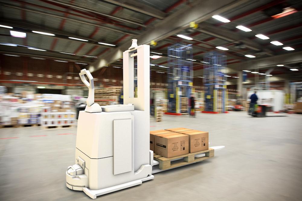 White AGV on industrial floor